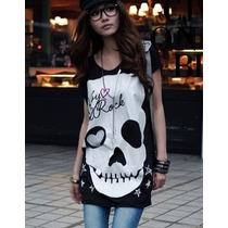 Blusa Com_caveira_skull_crossbone_fashion_alternativa_j.rock