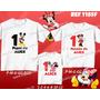 Lembrança De Aniversario Minnie Michey Kit Camisetas C/ 3