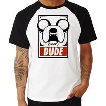 Camiseta Jake Hora Da Aventura Dude Anime Raglan Manga Curta