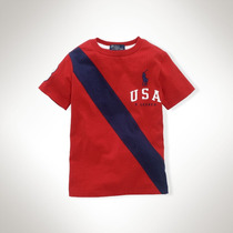 Camiseta Ralph Lauren Infantil Camiseta Banner Vermelha