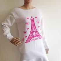 Blusa De Frio Feminina De Lã Trico Torre De Paris Cardigan