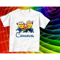 Camiseta Minions Carnaval Infantil Masculina E Baby Look