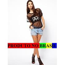Blusa Camisa Manga Curta Preta Transparente Frete Gratis Br)