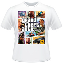Camiseta Gta V 5 Branca Video Game Jogo Camisa Frente Verso