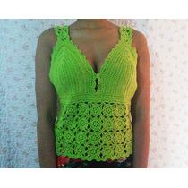 Blusa Bata De Crochê Verdeclara C/ Botão