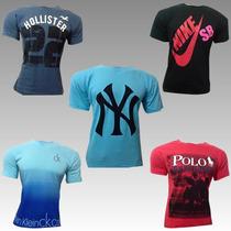 Kit 5 Camisetas Hollister Nike Adidas Calvin Klein Bordadas