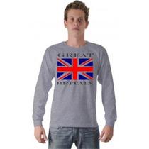 Camiseta Bandeira Inglaterra Reino Unido Manga Longa
