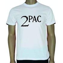 Camiseta Tupac - 2pac -branca Emblema - Hip Hop - Rap