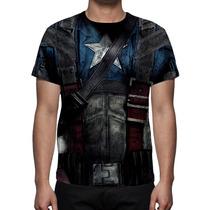 Camisa, Camiseta Uniforme Capitão América - Estampa Total