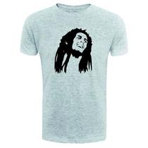 Camiseta Bob Marley - Rosto Exclusiva - Cinza - Reggae Rasta