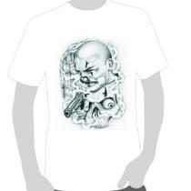 Camisetas Chicano Palhaço Assassino Revolver
