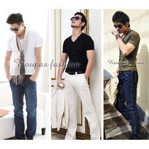 Camiseta Masculina Gola V,slim,blusas,regata,viscose,camisas
