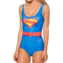 Body Maiô Super Girl Super Man Fantasia Dc Cartoon Praia