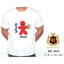 Camiseta Masculina Carnaval Frases - Vivo Bêbado - Cerveja