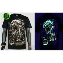 Camiseta Importada Motoqueiro Fantasma De Led