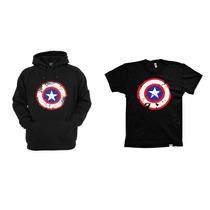 Combo Blusa Com Camiseta Capitão América Envelhecido
