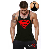 Regata Cavada Musculação Super Man Camisetas Academia
