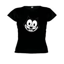 Camiseta Baby Look Desenho Gato Felix- Feminino