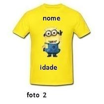 Camiseta Minions Aniversario Infantil E Adulto 100% Algodão