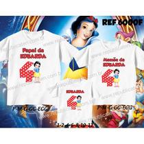 Camisetas Aniversario Princesa Branca De Neve - Com 3