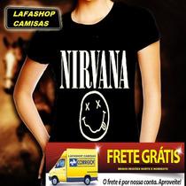 Camisa Nirvana Baby Look Feminina Camiseta Mulher Banda Rock