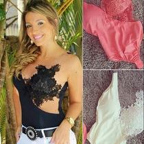 Body Blusa Com Renda Guipir E Tule Moda 2015 Importado