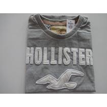 Camiseta Hollister Masc. Original Cinza (g) - Pronta Entr.