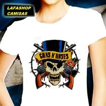 Camisa Guns Roses Camiseta Baby Look Feminina Bandas Mocas