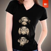 Camisetas Macaco Cego Surdo E Mudo 100% Algodão Silk Digital