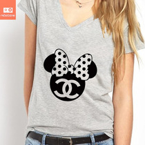 Camisetas Minnie Disney Chanel Mickey Desenho 100% Algodão