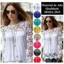 Linda Blusa Camisa De Chifon Delicado Com Crochê Em Algodão