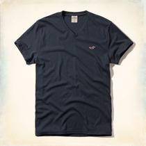 Camiseta Hollister Masculina Algodao Gola V Preto Original