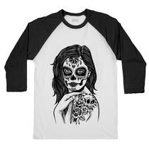 Camiseta Raglan 3/4 Caveira Mexicana Tatoo Zombie