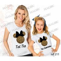 Blusa Tia E Sobrinha Minnie Onça Baby Look Personalizadas