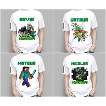 Camiseta Infantil Crianças Minecraft Pesonalizada Com Nome