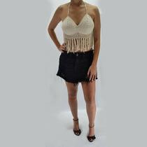 Top Blusa Cropped Franja Tricot Tricô Blogueira Verão