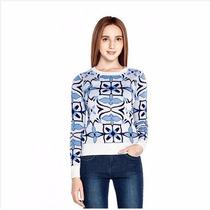 Maravilhosa Blusa Importada Em Lã Com Estampa De Azulejo
