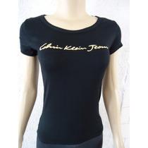 Kit 5 Camisetas Calvin Klein Ck Feminina Viscose Blusinha