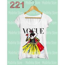 Tshirts Feminina Flamê Princesas Vogue Frozen Cinderela Bela