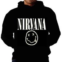 Blusa Moletom Nirvana Capuz Bolso Banda Rock Kurt Camiseta