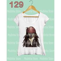 Blusa Tshirt Feminina Estampa Gato Jack Sparrow Pirata Moda