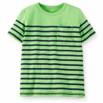 Criança Listrado Verde E Azul Da Camisa De Manga Curta De A