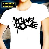 Camiseta My Chemical Romance Camisa Bab Look Feminina Branca