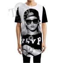 Camiseta Camisetao Masculino Oversized Longline Swag Rihanna