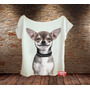 Blusa Feminina Gola Canoa Chihuahua Cachorro Pet Chiuaua