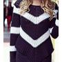Blusa Tricot Crochê Listrada Em V - Sedex A Partir 7 Reais