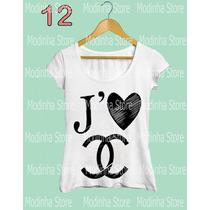 Tshirt Feminina Blusa Coração Chanel Marca Moda 2016 Look