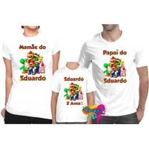 Kit 3 Pçs Camisa Personalizada P/ Festa Super Mario Bros A4