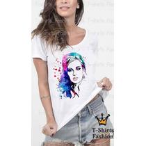 Camiseta Feminina Adele Cantora Famosa Personalizada