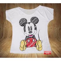 Blusa Feminina Gola Canoa Mickey Desenhado Rabiscado Pintura